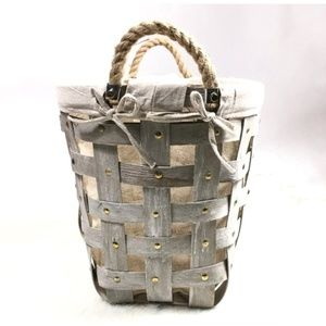 Large Lined Wooden Basket with Rope Handles